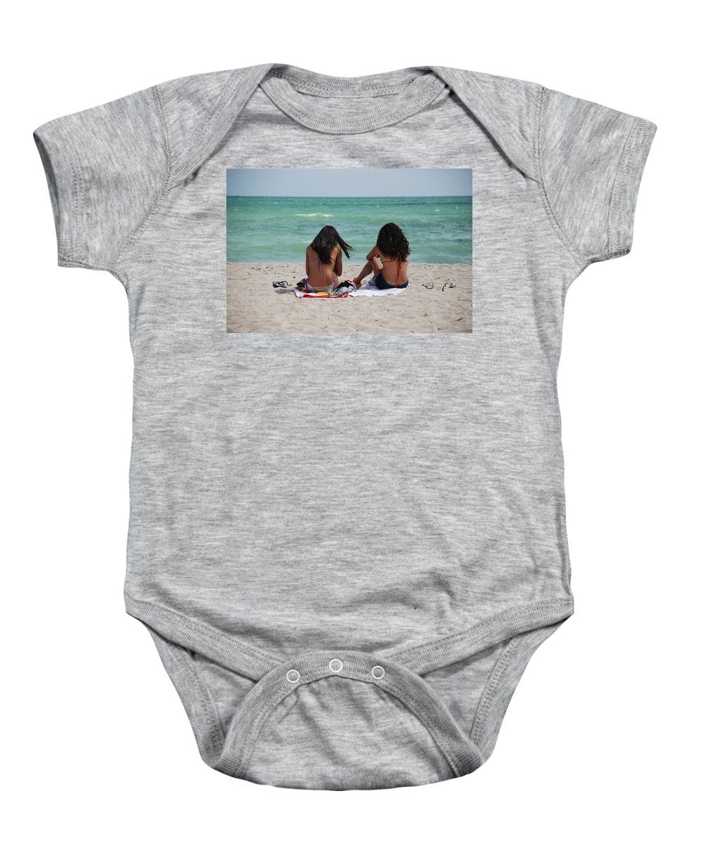 Women Baby Onesie featuring the photograph Beauties On The Beach by Rob Hans
