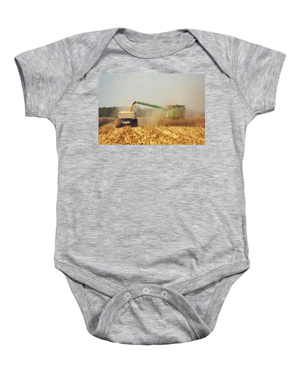 Corn Harvest Baby Onesie featuring the photograph Beautiful Corn Harvest by Goldie Pierce