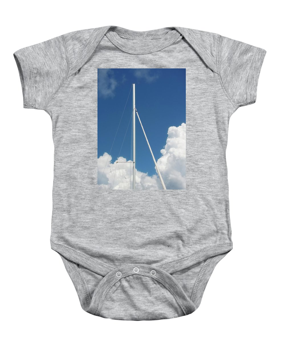 Boat Baby Onesie featuring the photograph Beautiful Day At The Marina - Mast And Clouds - Color by Mitch Spence