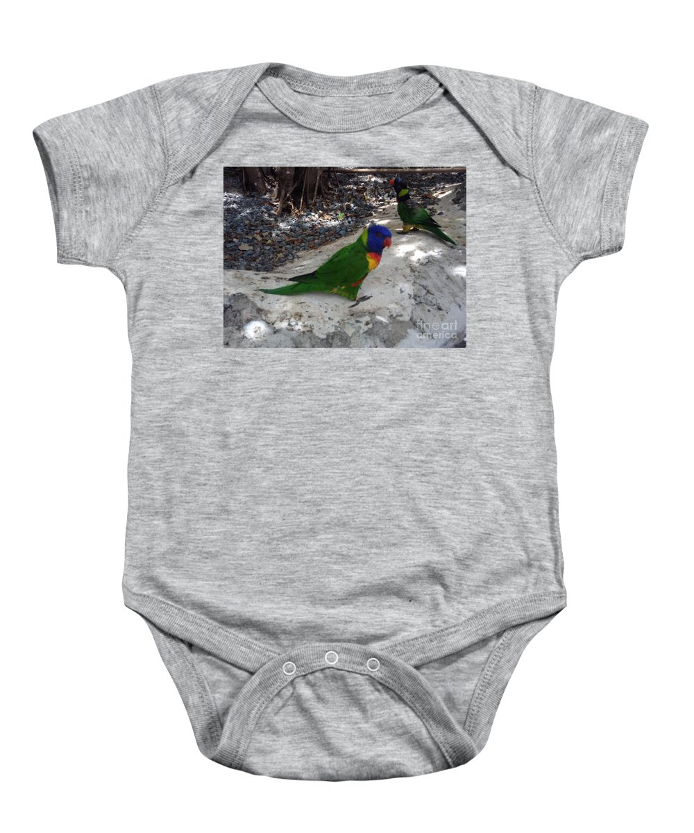 Lorikeets Baby Onesie featuring the photograph Beautiful Lorikeets by Gina Sullivan