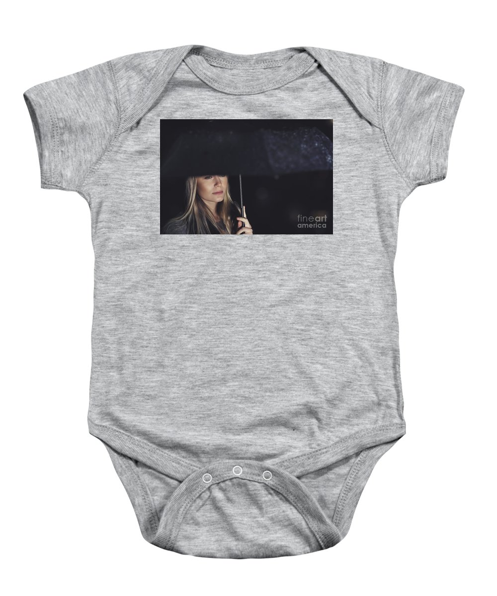 Adult Baby Onesie featuring the photograph Beautiful Sad Woman Under The Rain by Anna Om