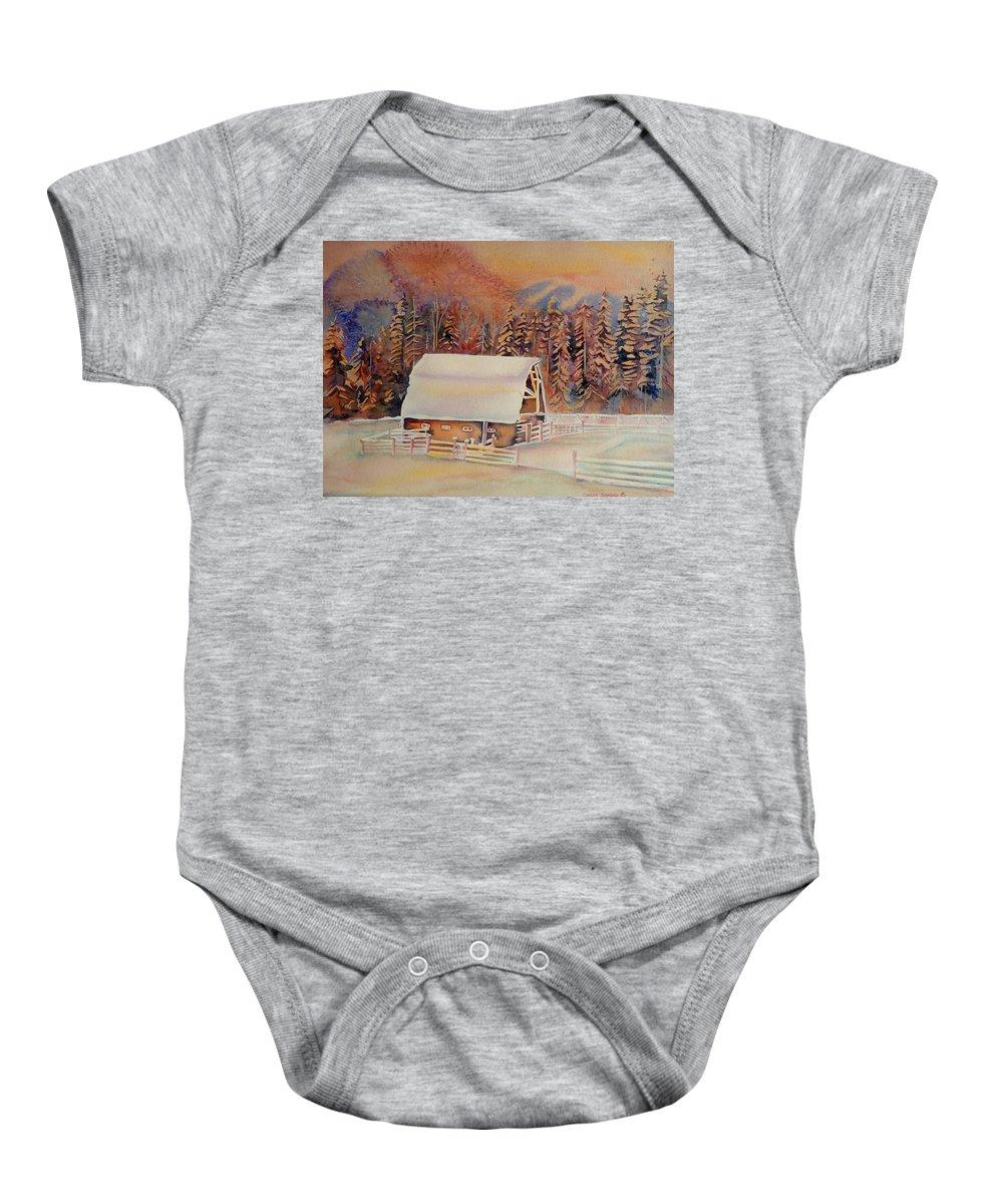 Beautiful Skies Baby Onesie featuring the painting Beautiful Skies by Carole Spandau