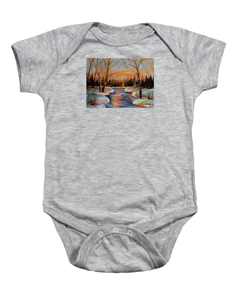 Baby Onesie featuring the painting Beautiful Spring Thaw by Carole Spandau