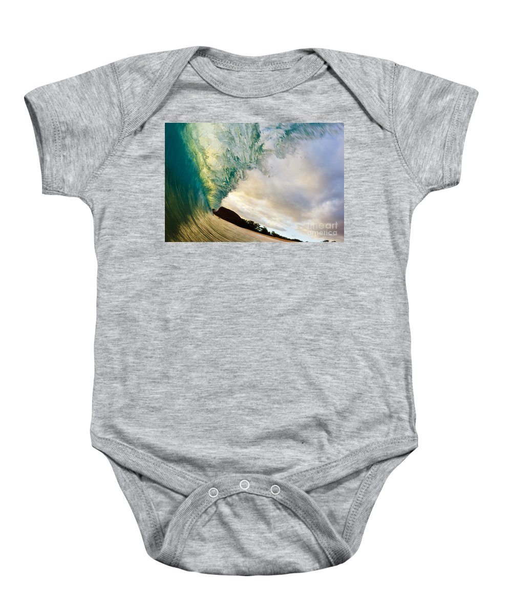 Aqua Baby Onesie featuring the photograph Beautiful Sunset Wave by MakenaStockMedia - Printscapes