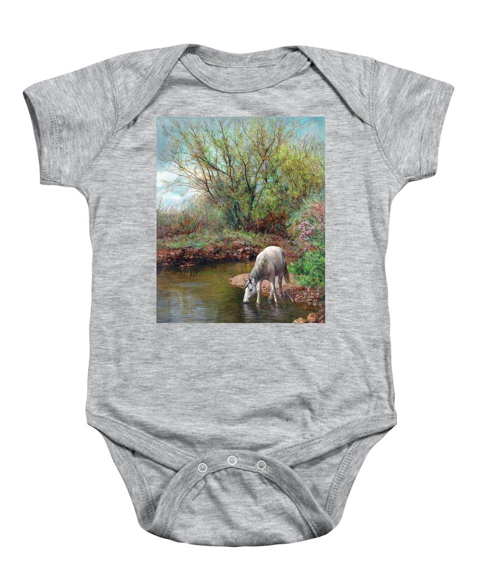 Horse Baby Onesie featuring the painting Beautiful White Horse and Enchanting Spring by Svitozar Nenyuk