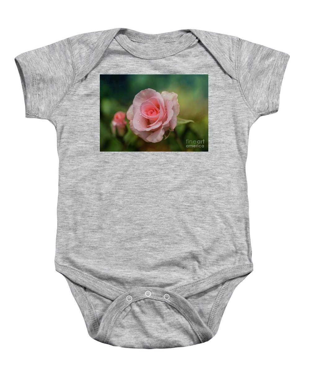 Rose Baby Onesie featuring the photograph Beauty With Raindrops by Eva Lechner