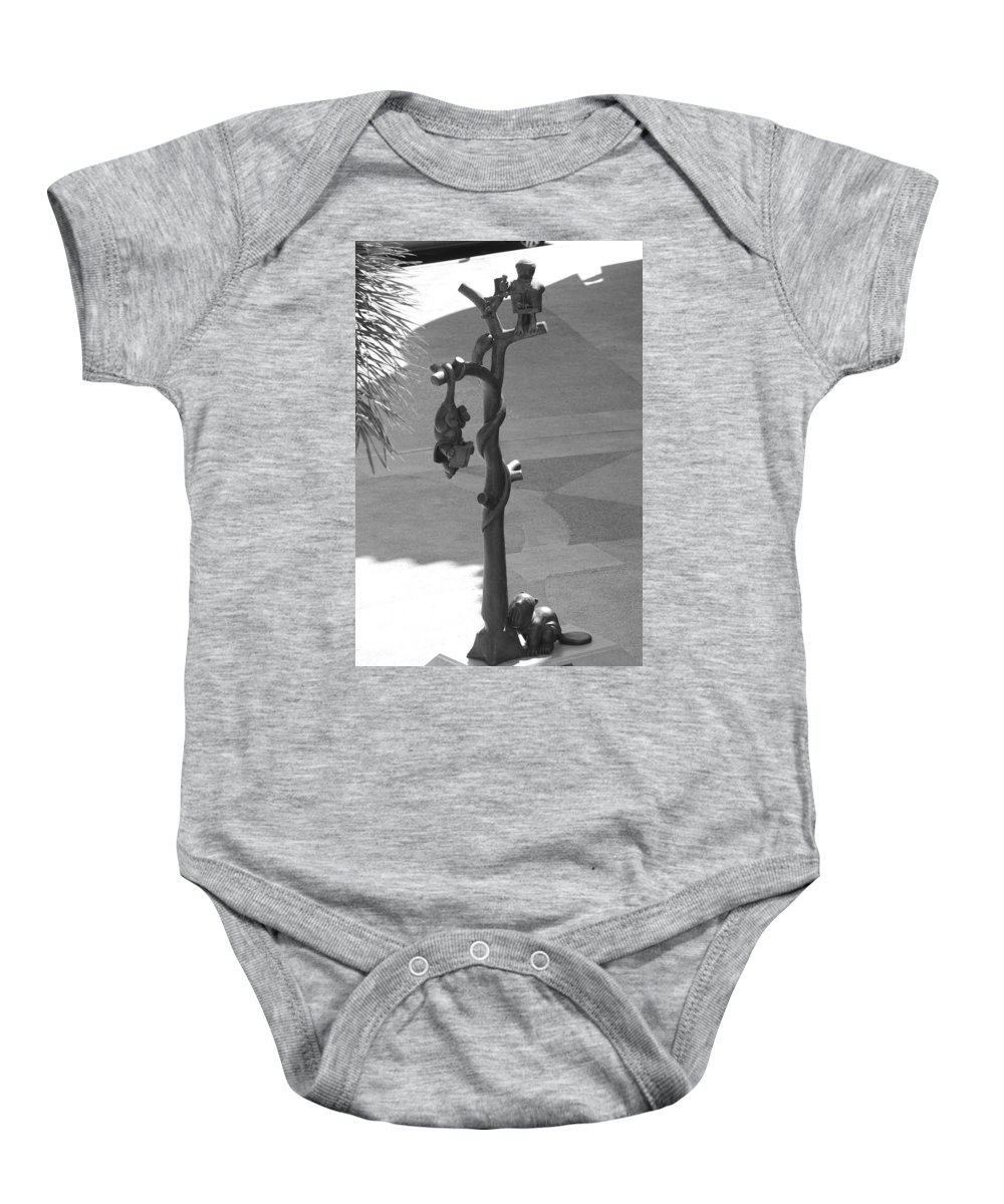 Black And White Baby Onesie featuring the photograph Beavers Bats And Squirrels by Rob Hans