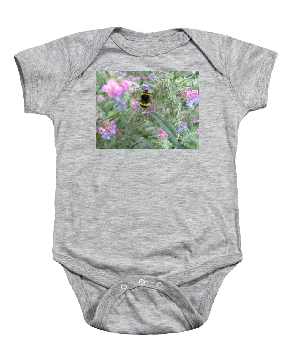 Bee And Flower Baby Onesie featuring the photograph Bee And Flower by Heather Lennox