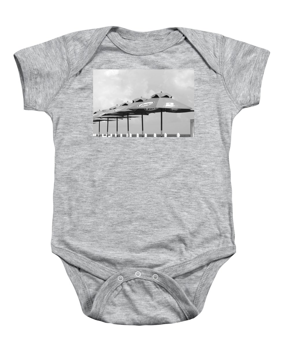 Black And White Baby Onesie featuring the photograph Beer Unbrellas by Rob Hans