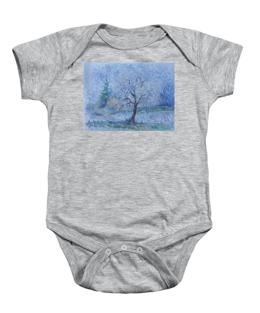 Autumn Baby Onesie featuring the painting Beginning Of Another Winter by Anna Duyunova