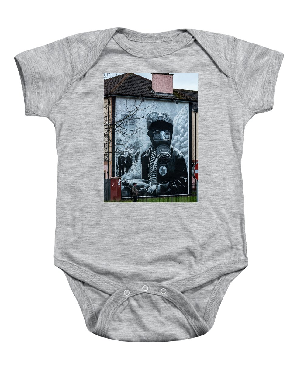Belfast Baby Onesie featuring the photograph Belfast Mural - Face Mask - Ireland by Jon Berghoff