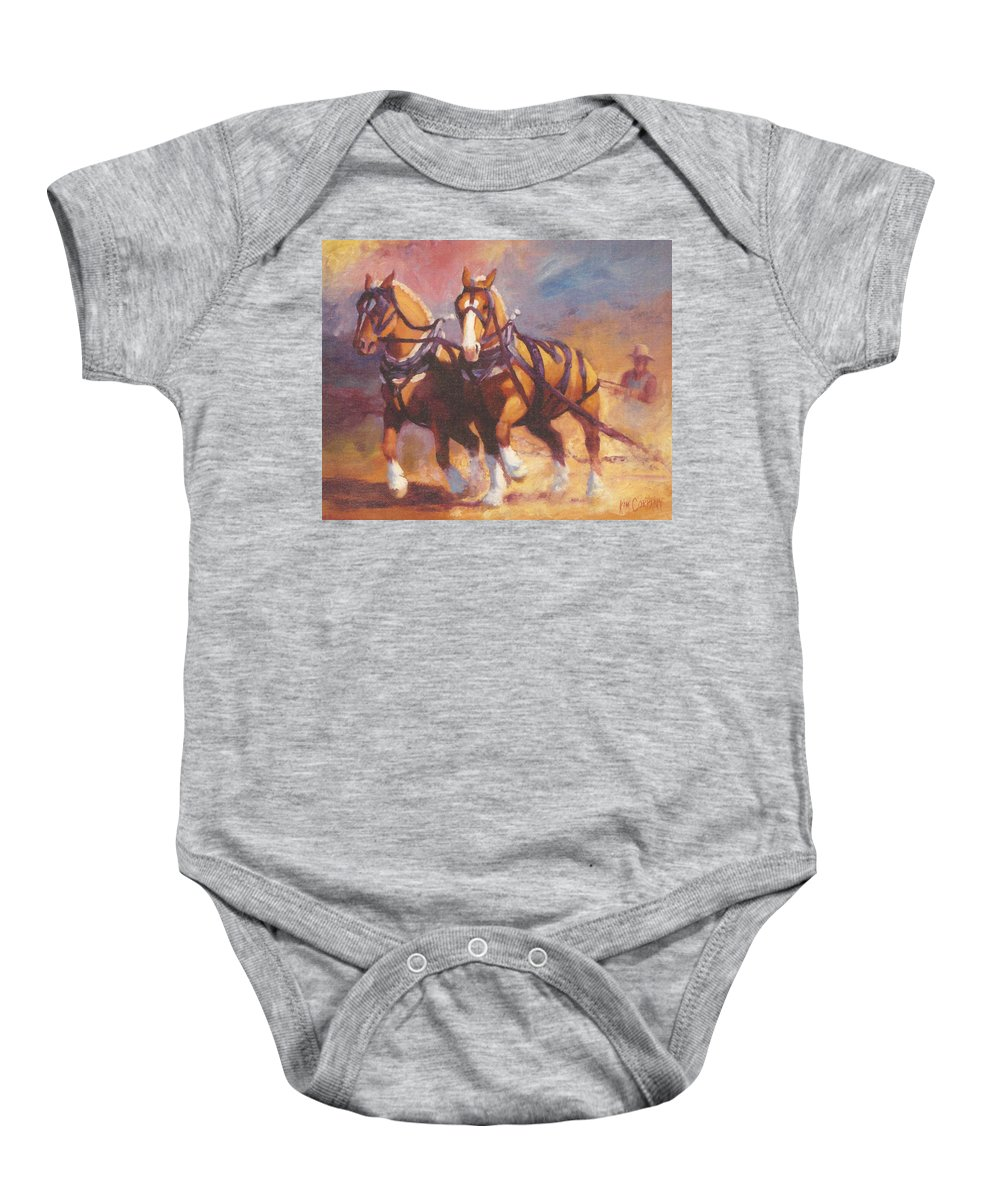 Horse Baby Onesie featuring the painting Belgian Team Pulling Horses Painting by Kim Corpany