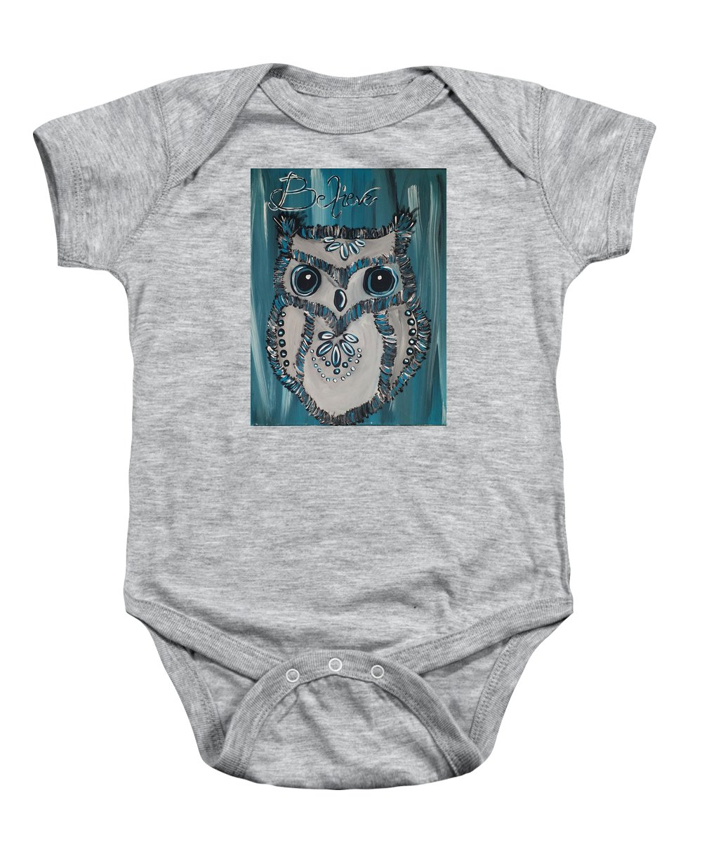 Inspirational Baby Onesie featuring the painting Believe by Shelby Heck