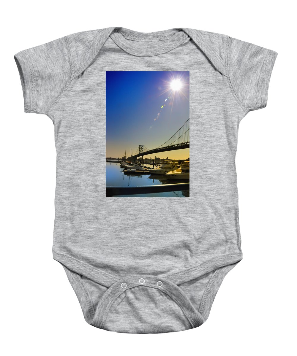 Philadelphia Baby Onesie featuring the photograph Ben Franklin Bridge From The Marina by Bill Cannon