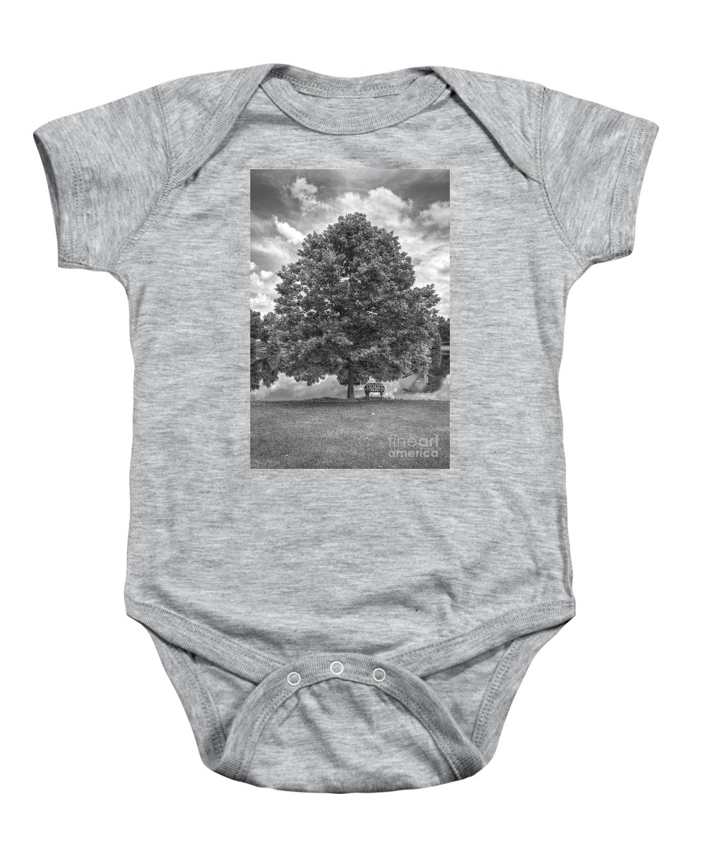 2013 Baby Onesie featuring the photograph Bench Under A Tree by Larry Braun