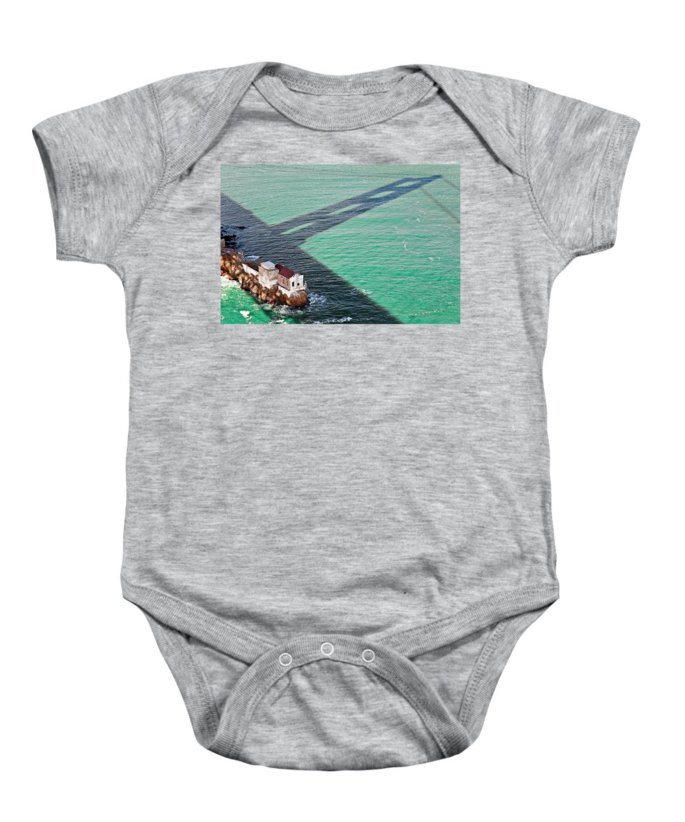 Golden Gate Bridge Baby Onesie featuring the photograph Beneath The Golden Gate by Dave Bowman