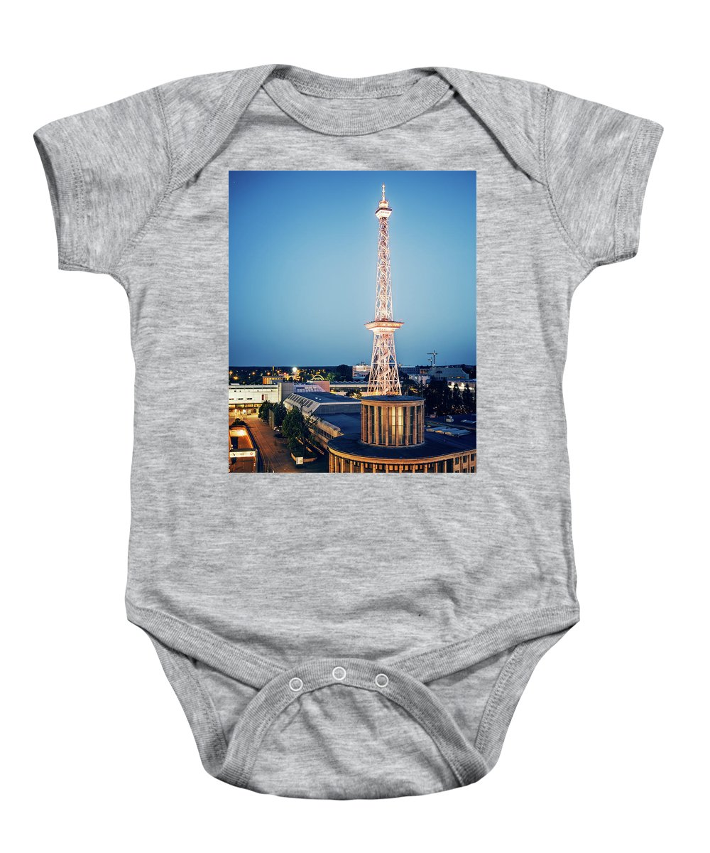 Berlin Baby Onesie featuring the photograph Berlin - Funkturm by Alexander Voss