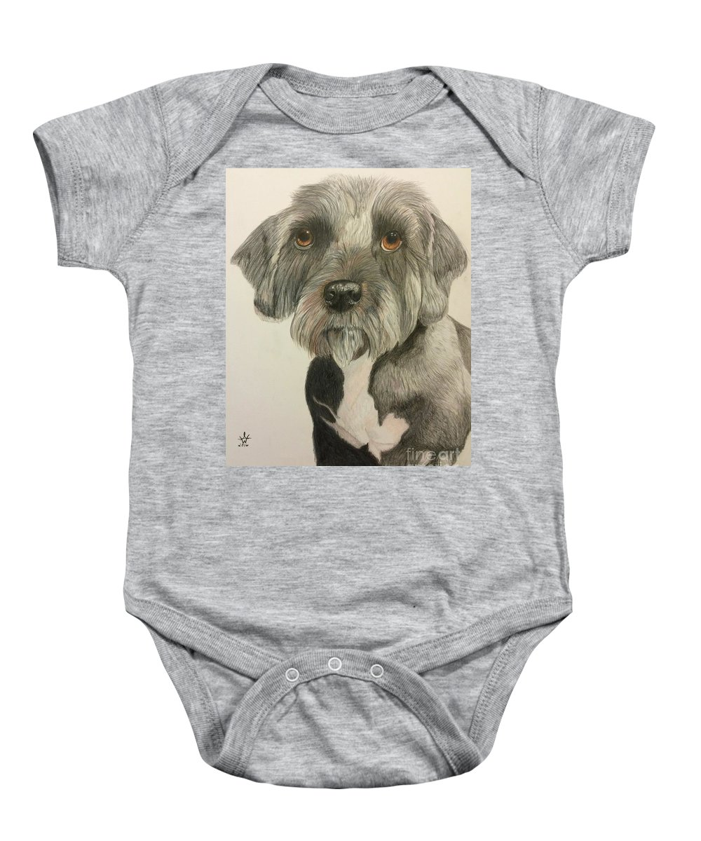 Dog Baby Onesie featuring the painting Bert by Ambre Wallitsch