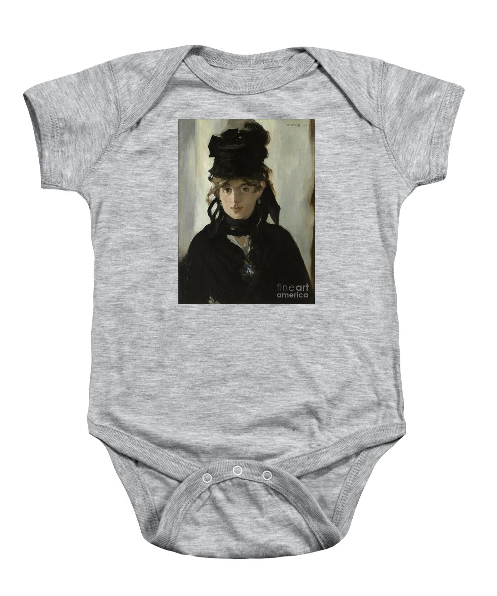 �douard Manet Baby Onesie featuring the painting Berthe Morisot With A Bouquet Of Violets by Celestial Images