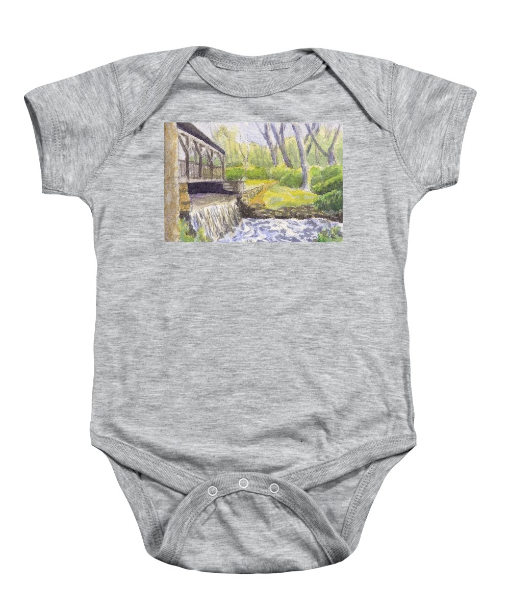 Moore State Park Baby Onesie featuring the painting Beside The Dam by Sharon E Allen