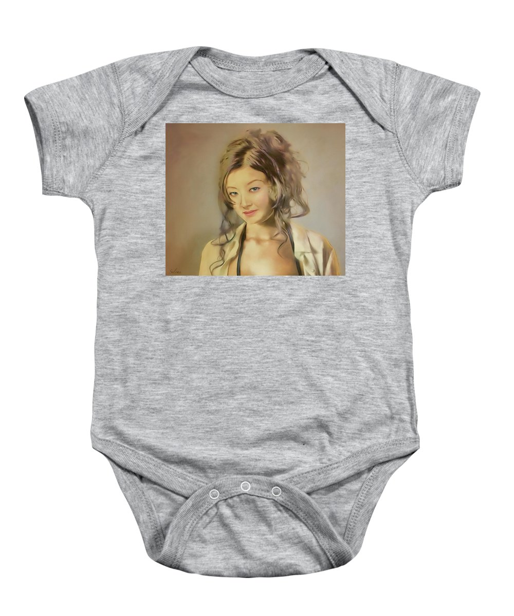 Salome Baby Onesie featuring the painting Bessie by Salome Hooper