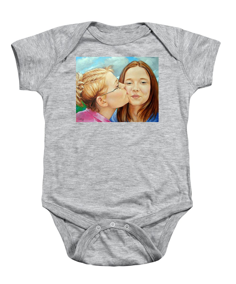 Best Friends Baby Onesie featuring the painting Best Buds by Jerrold Carton