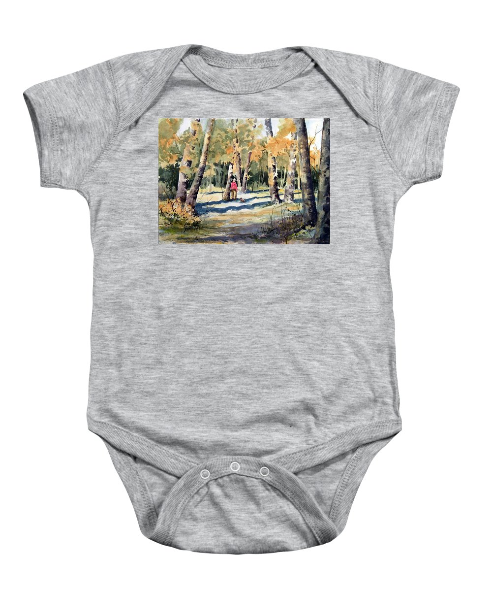Dog Baby Onesie featuring the painting Walking With A Friend by Sam Sidders