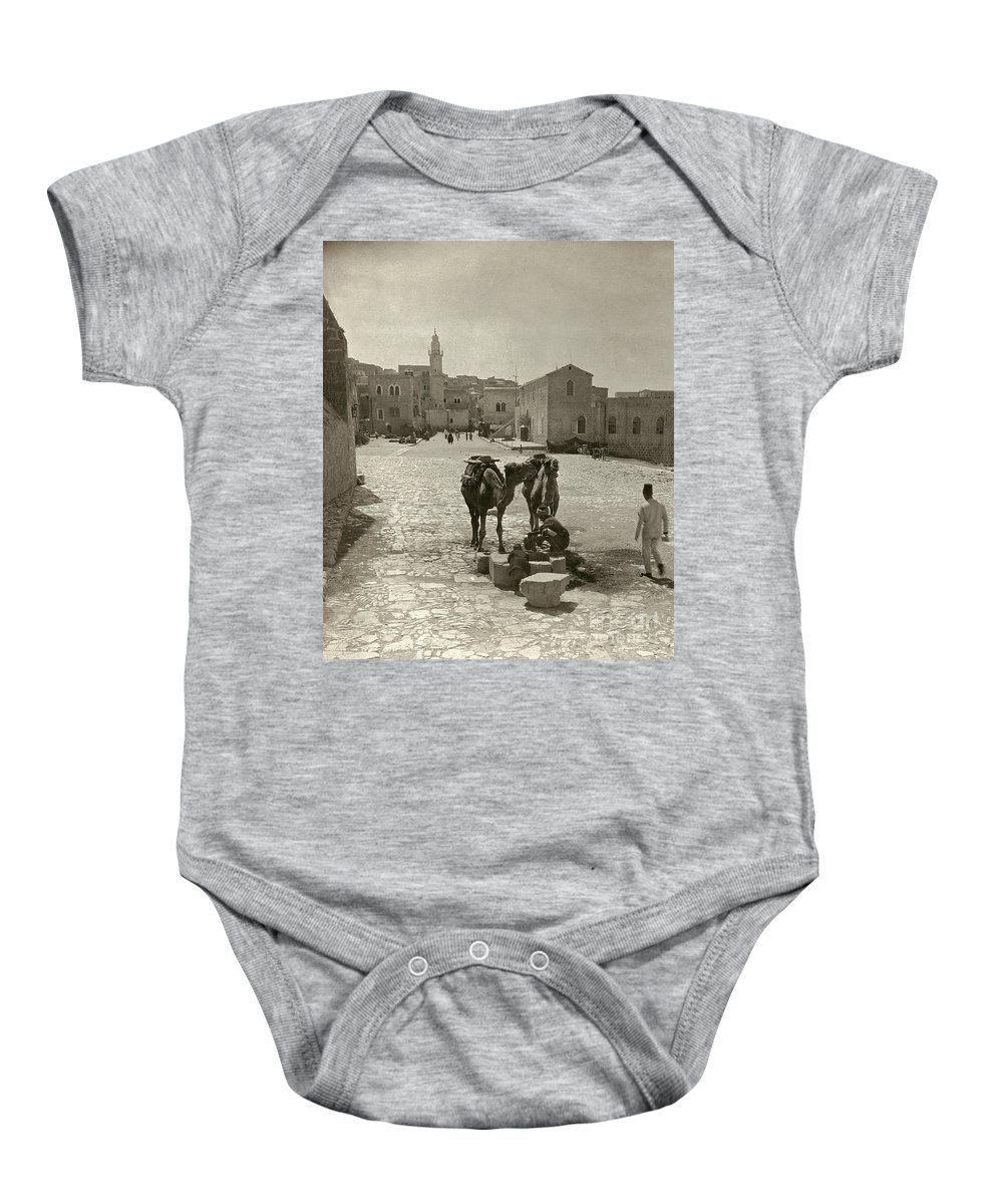 1911 Baby Onesie featuring the photograph Bethlehem: Street, C1911 by Granger