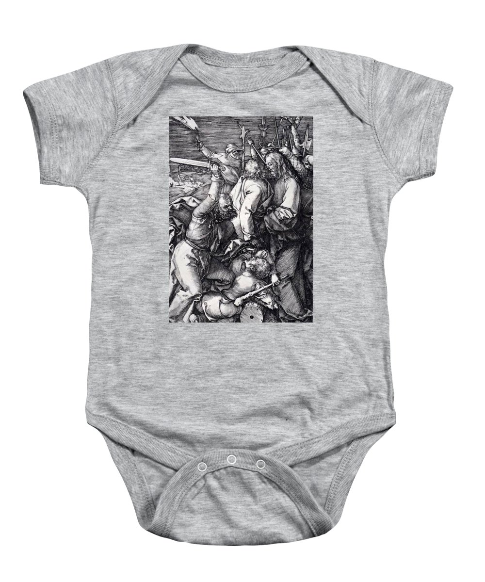 Betrayal Baby Onesie featuring the painting Betrayal Of Christ 1508 by Durer Albrecht