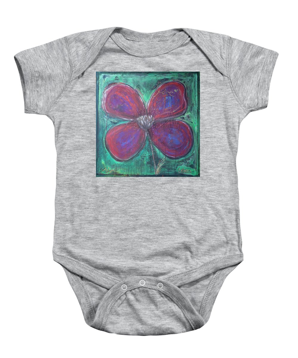 Poppy Baby Onesie featuring the painting Big Love Poppy by Laurie Maves ART