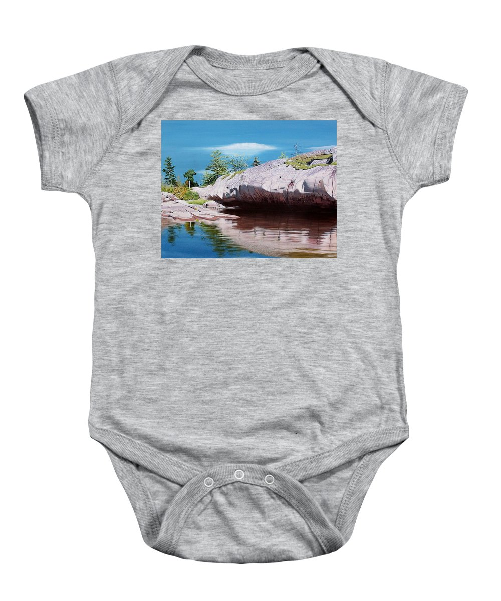 Landscape Baby Onesie featuring the painting Big River Rock by Kenneth M Kirsch