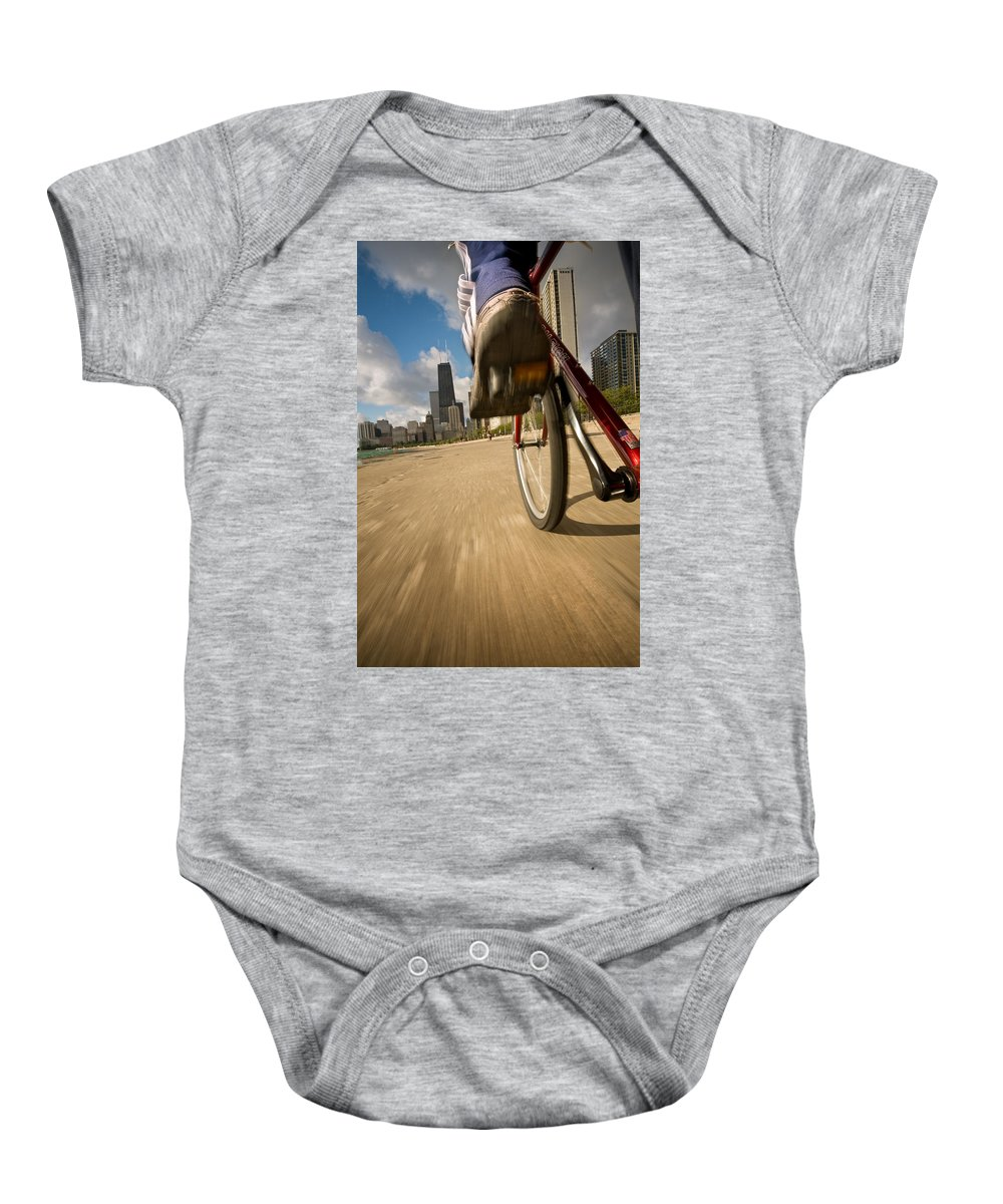 Active Baby Onesie featuring the photograph Biking Chicagos Lakefront by Steve Gadomski