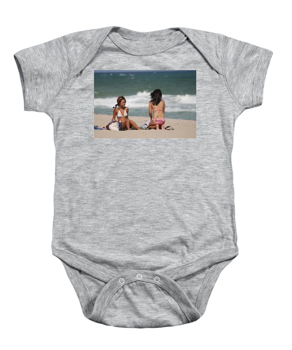 Sea Scape Baby Onesie featuring the photograph Billabong Girls by Rob Hans