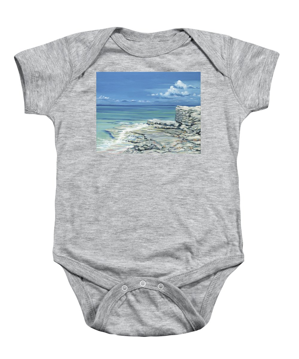 Bimini Baby Onesie featuring the painting Bimini Blues by Danielle Perry