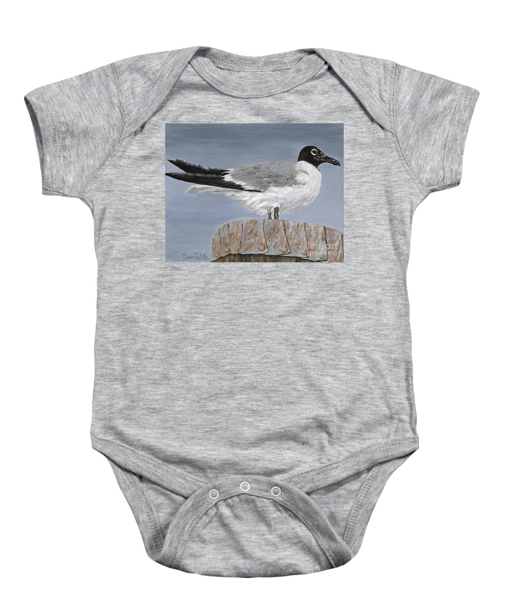 Seagull Baby Onesie featuring the painting Bimini Gull by Danielle Perry