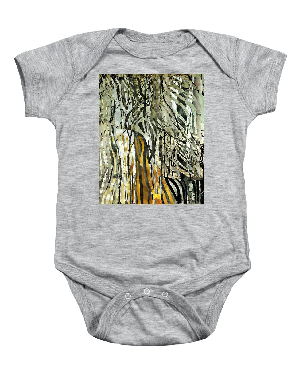 Birch Trees Baby Onesie featuring the mixed media Birch Forest by Sarah Loft