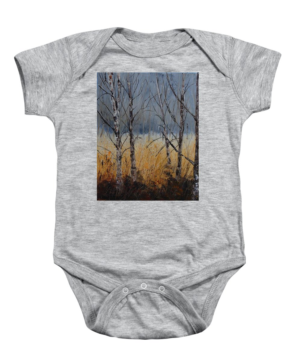 Winter Baby Onesie featuring the painting Birch Trees by Pol Ledent