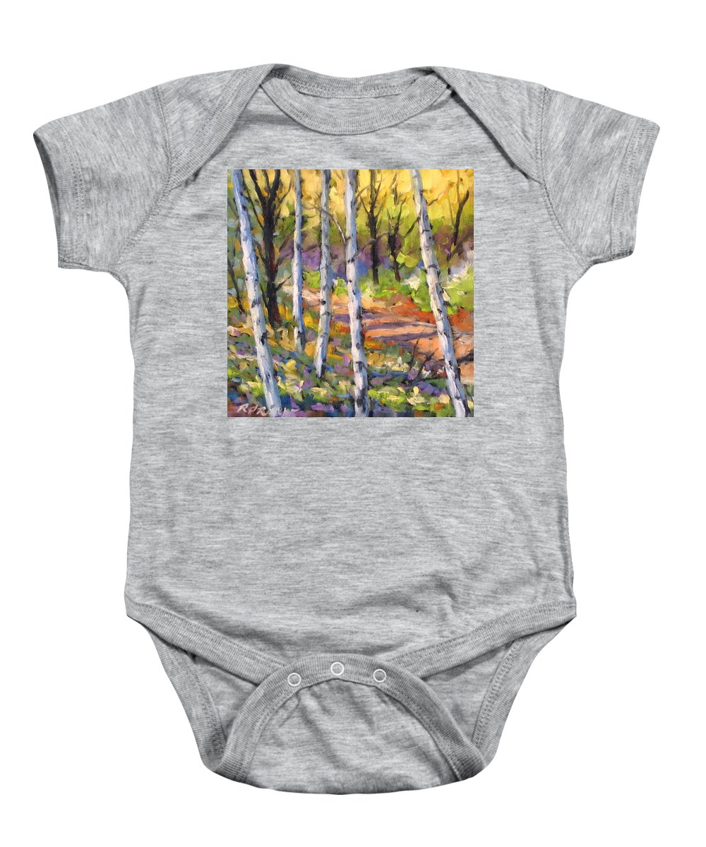 Art Baby Onesie featuring the painting Birches 02 by Richard T Pranke