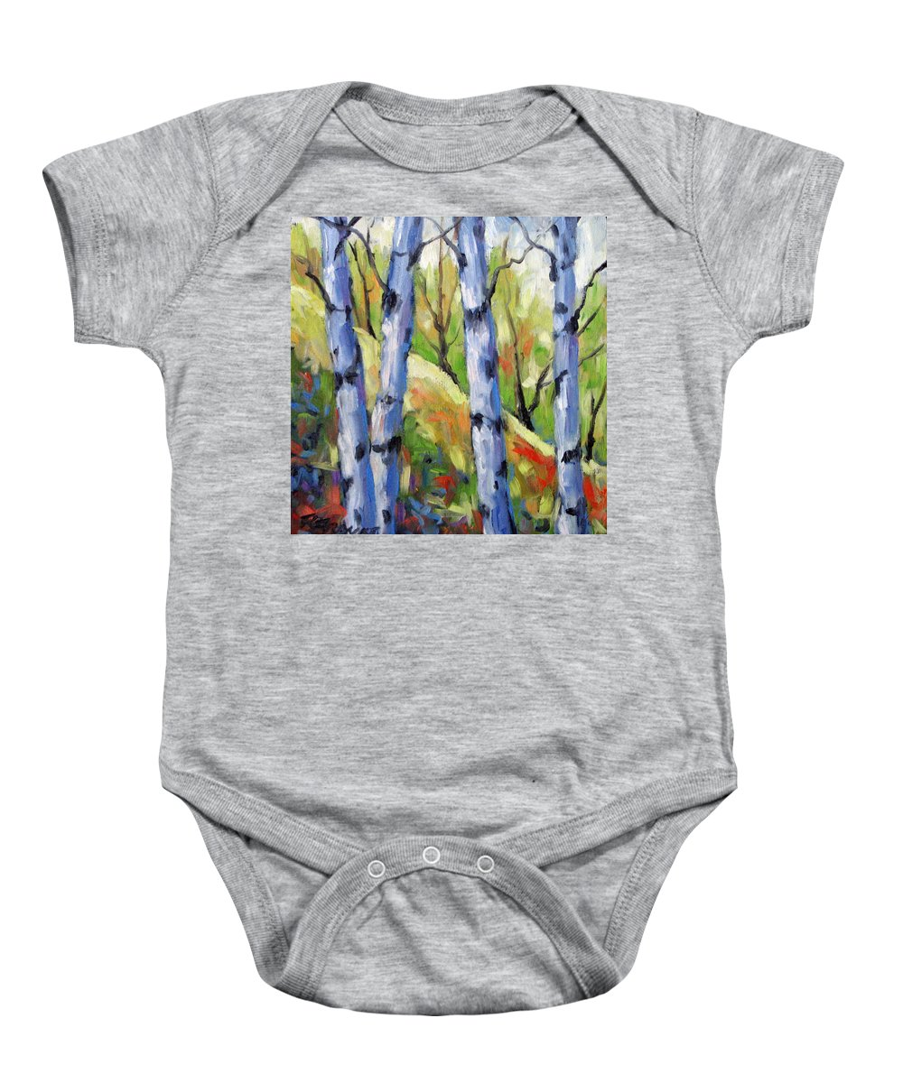 Art Baby Onesie featuring the painting Birches 09 by Richard T Pranke