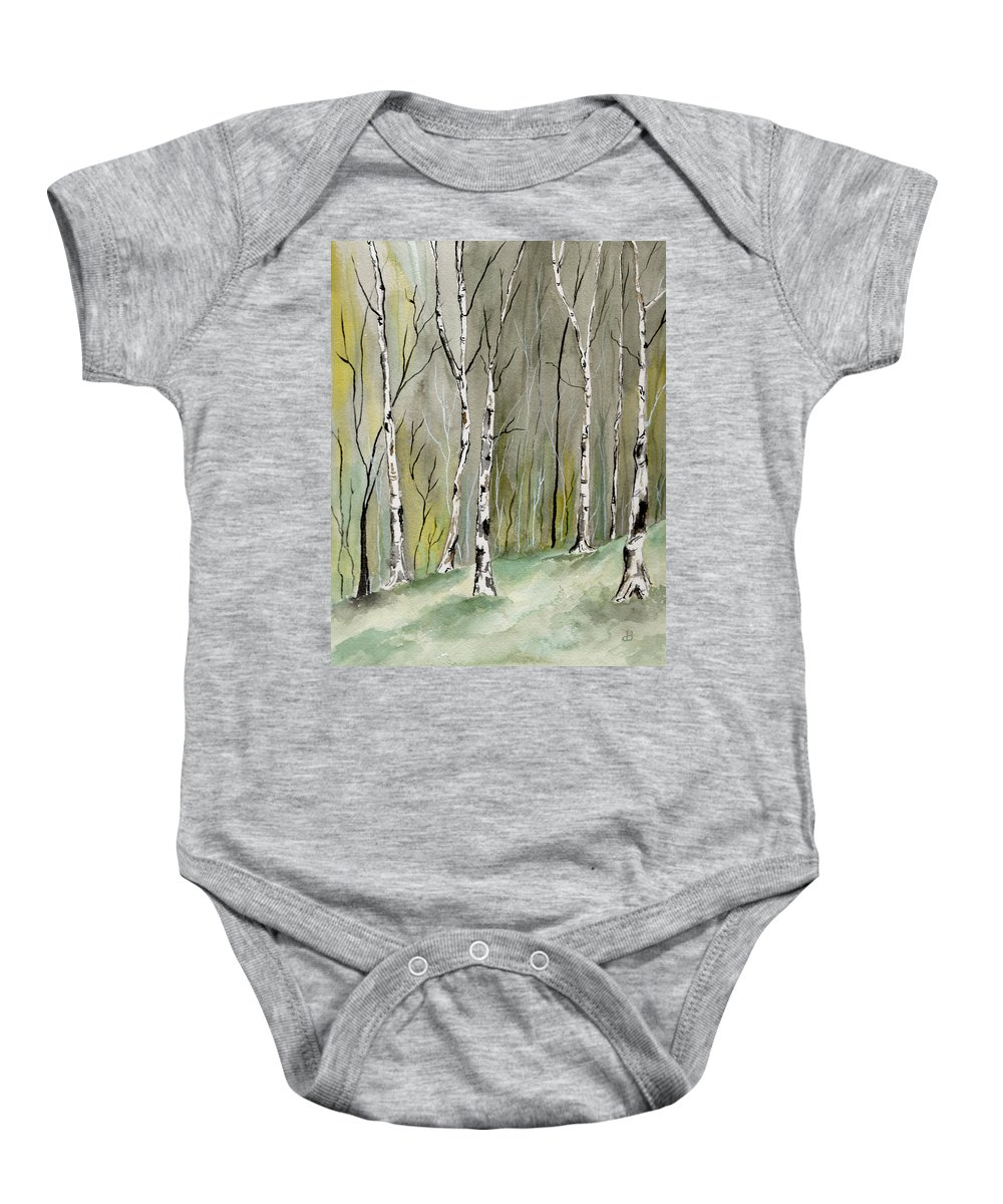 Landscape Baby Onesie featuring the painting Birches Before Spring by Brenda Owen