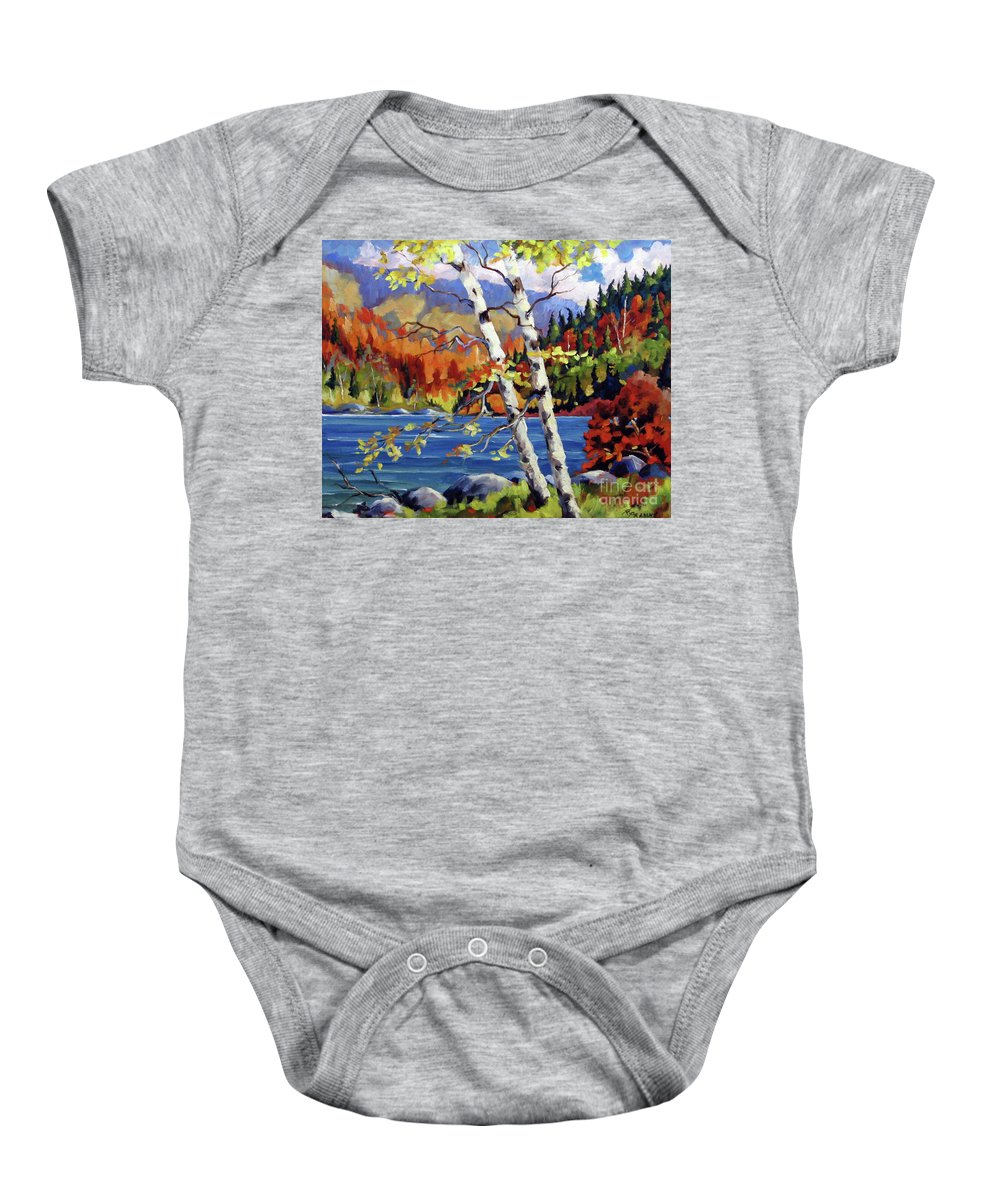 Art Baby Onesie featuring the painting Birches By The Lake by Richard T Pranke