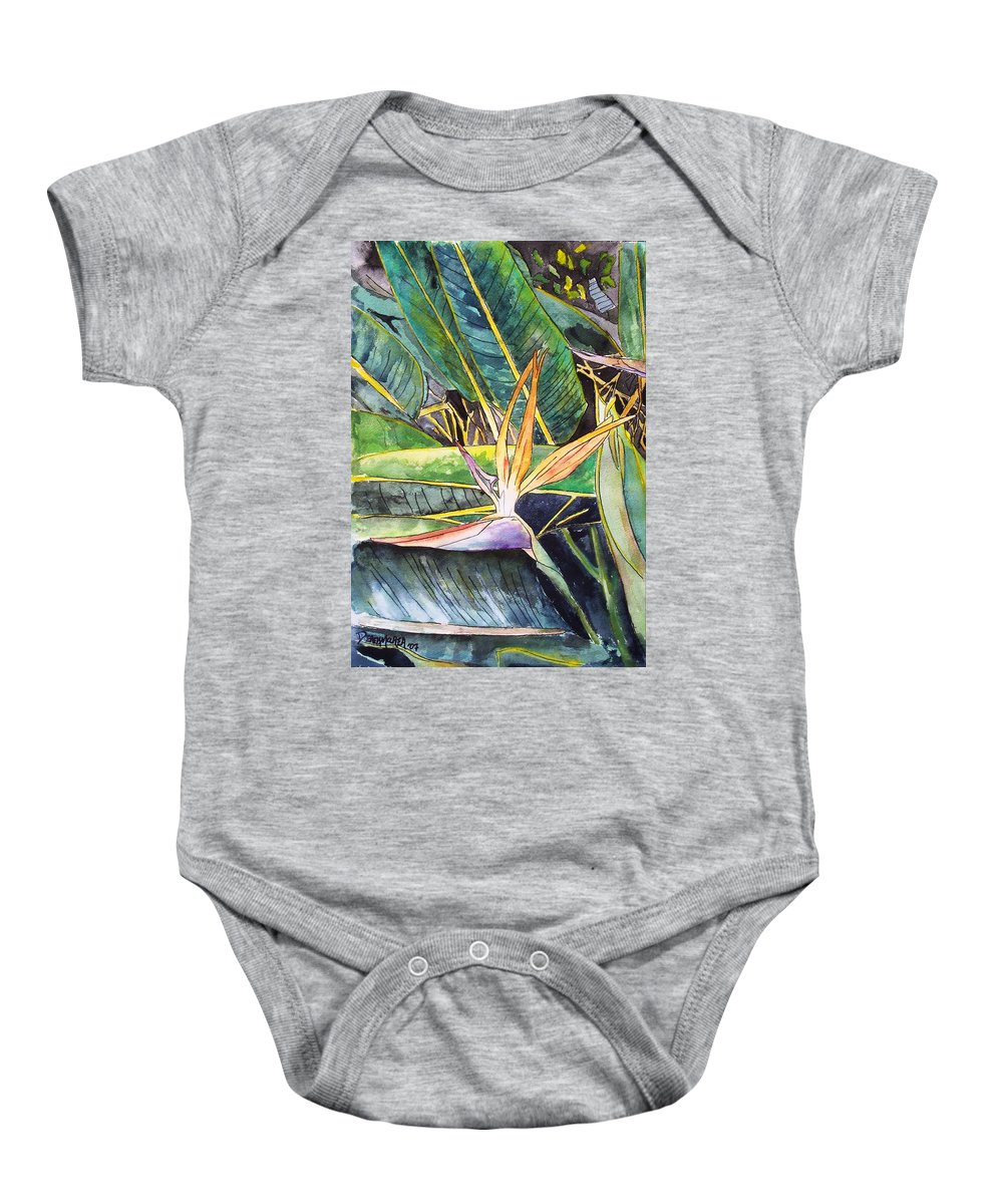 Watercolor Baby Onesie featuring the painting Bird Of Paradise by Derek Mccrea