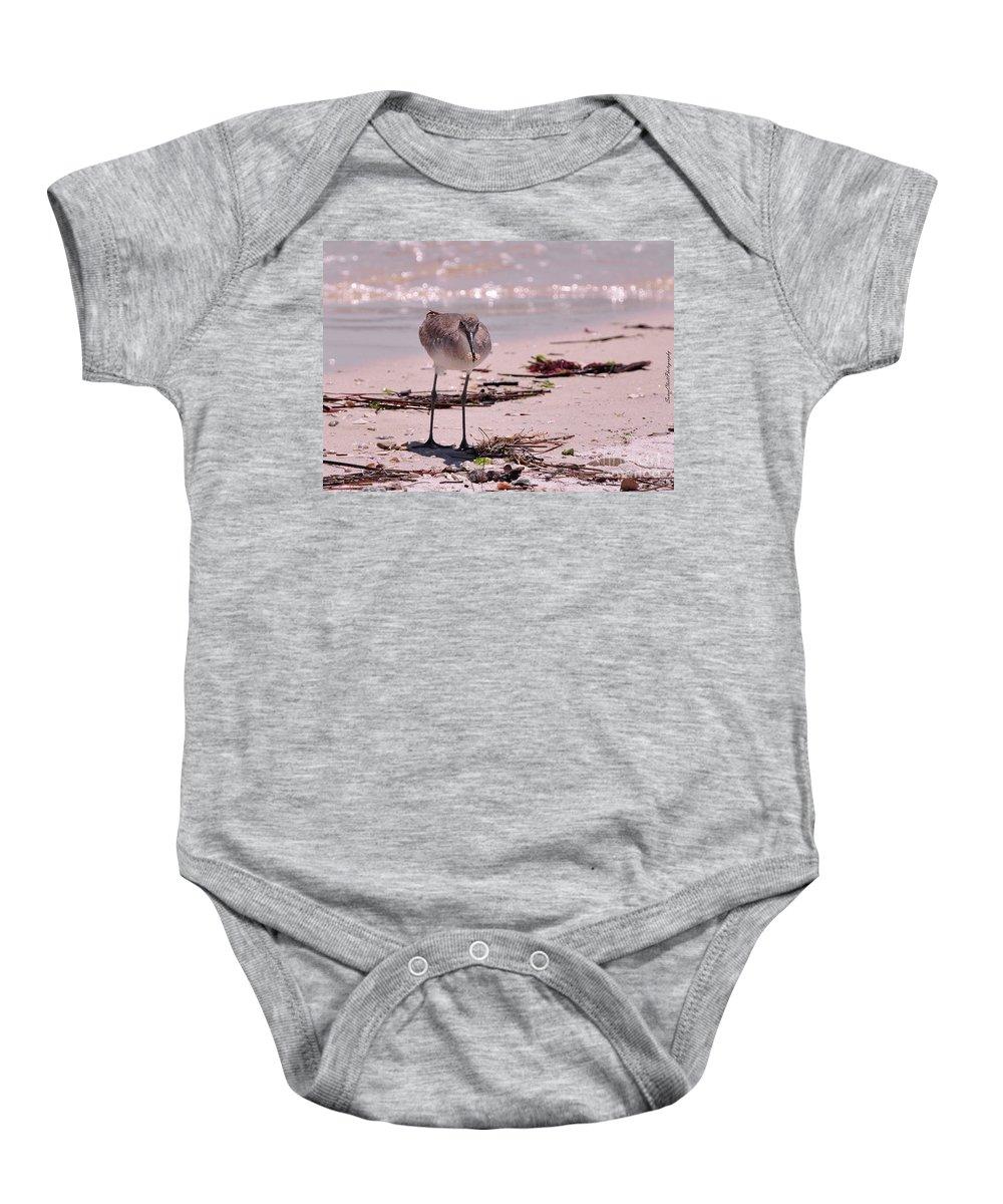 Beach Baby Onesie featuring the photograph Bird On The Beach by Susan Cliett