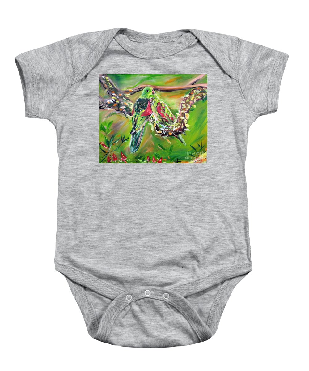 Love Birds Baby Onesie featuring the painting Birds by Huang