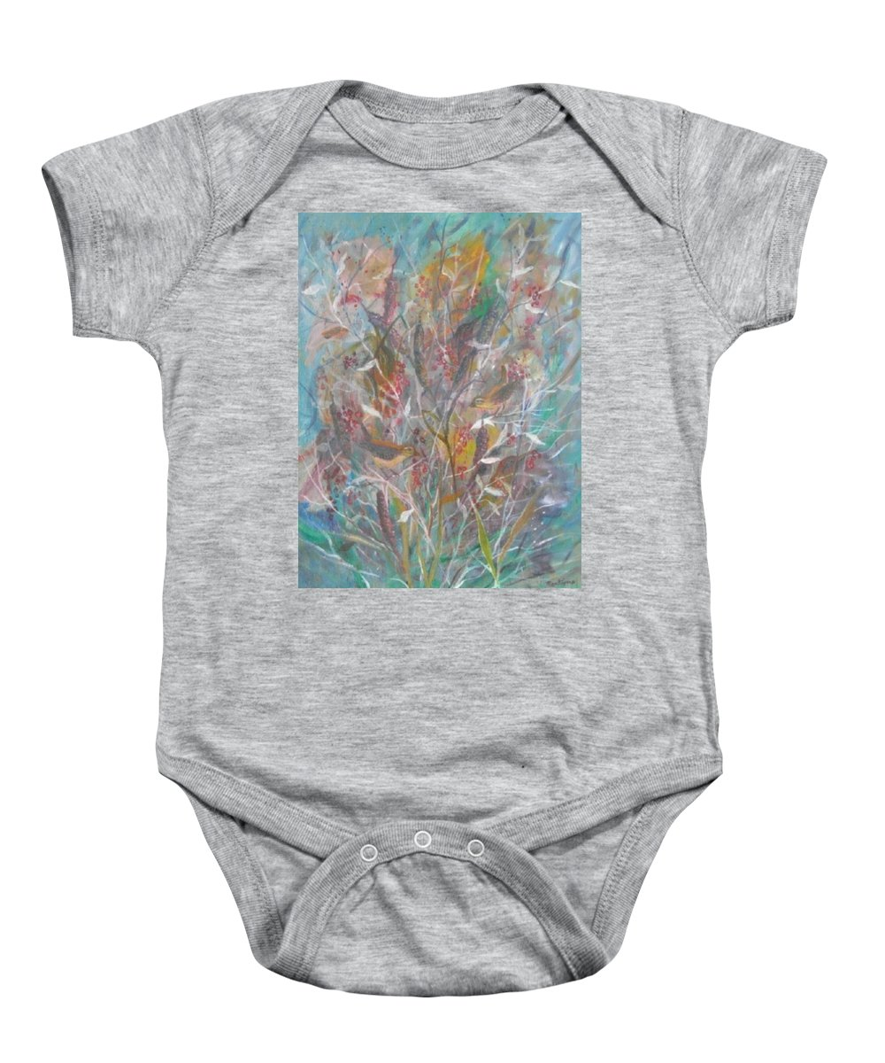 Birds Baby Onesie featuring the painting Birds In A Bush by Ben Kiger
