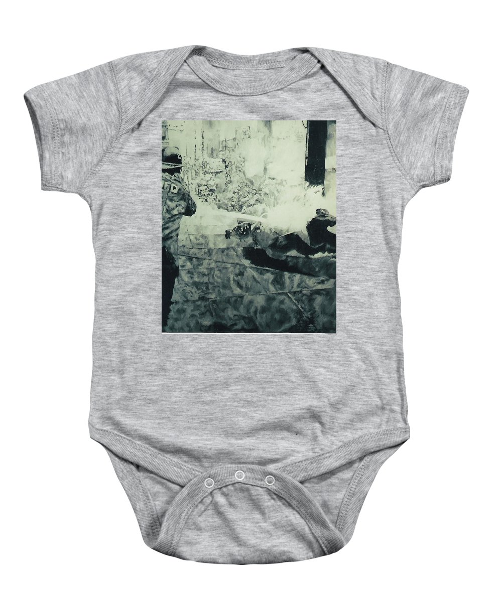 Civil Rights Movement Baby Onesie featuring the painting Birmingham Fire Department Sprays Protestor With High Pressure Water Hoses 1963 by Lauren Luna