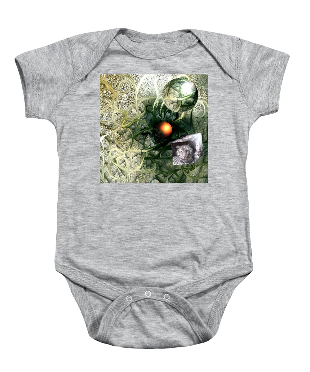 Abstract Nature Red Birth Tiger Spheres Wire Baby Onesie featuring the digital art Birth by Veronica Jackson