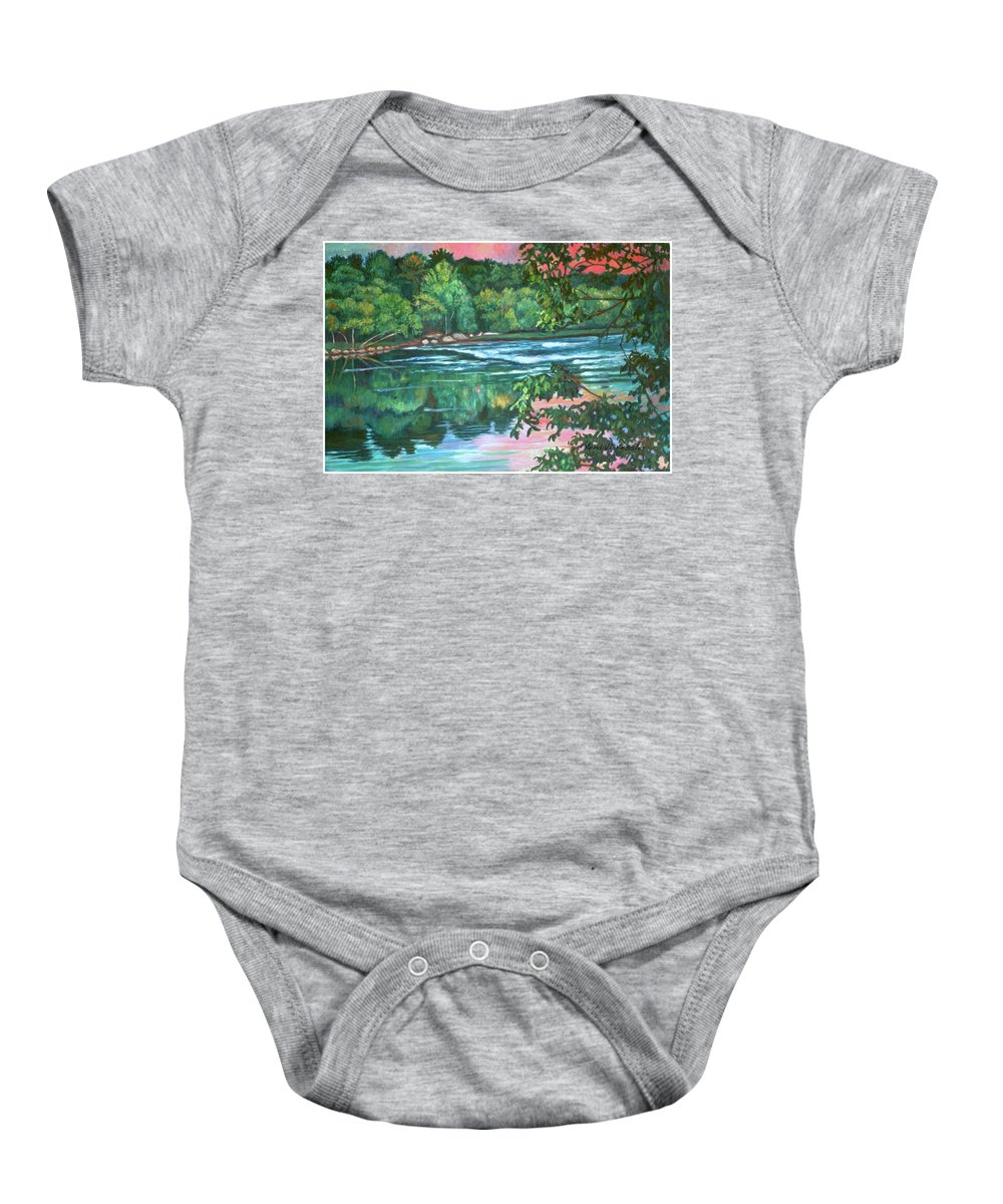 River Baby Onesie featuring the painting Bisset Park Rapids by Kendall Kessler