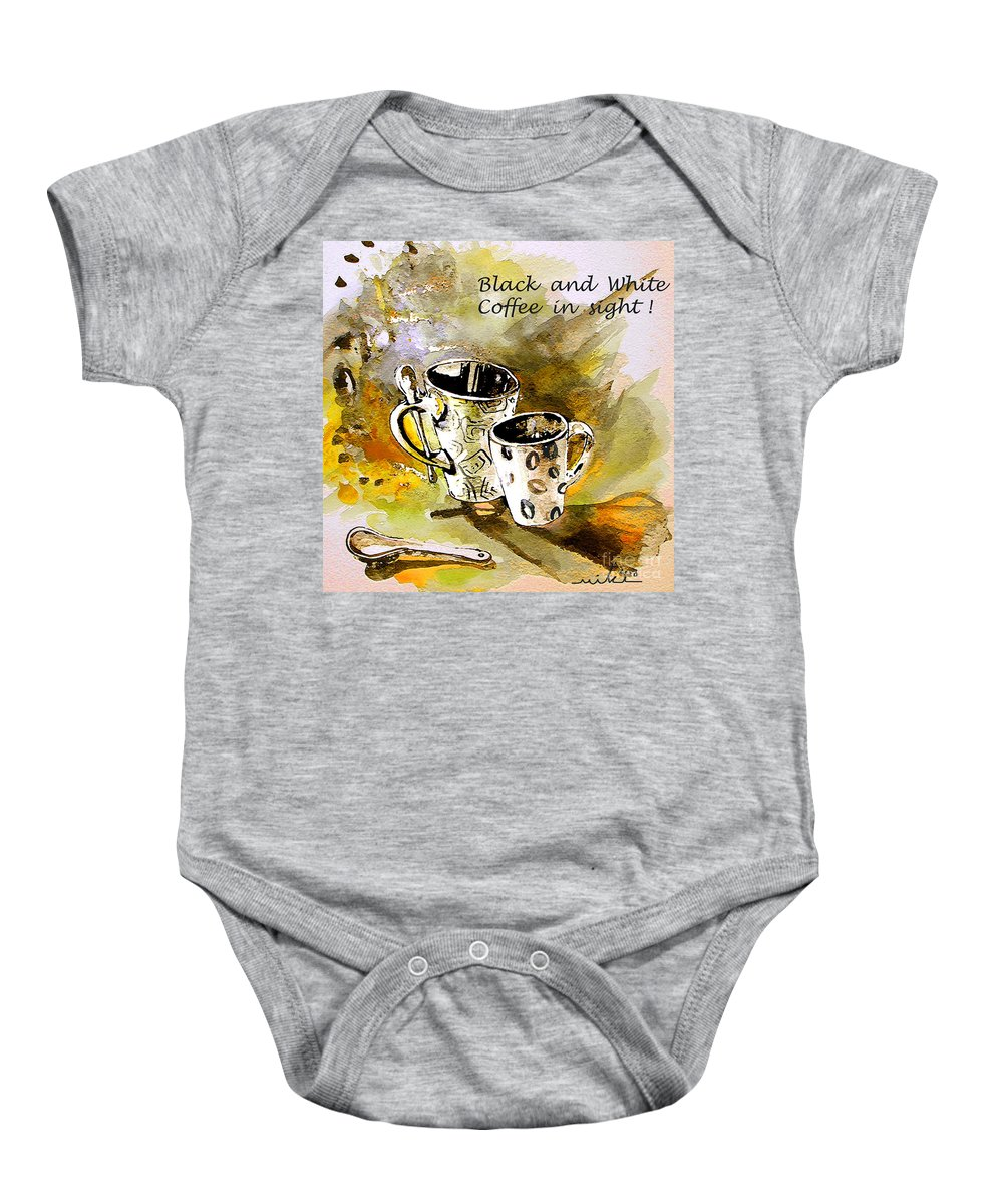 Cafe Crem Baby Onesie featuring the painting Black And White by Miki De Goodaboom