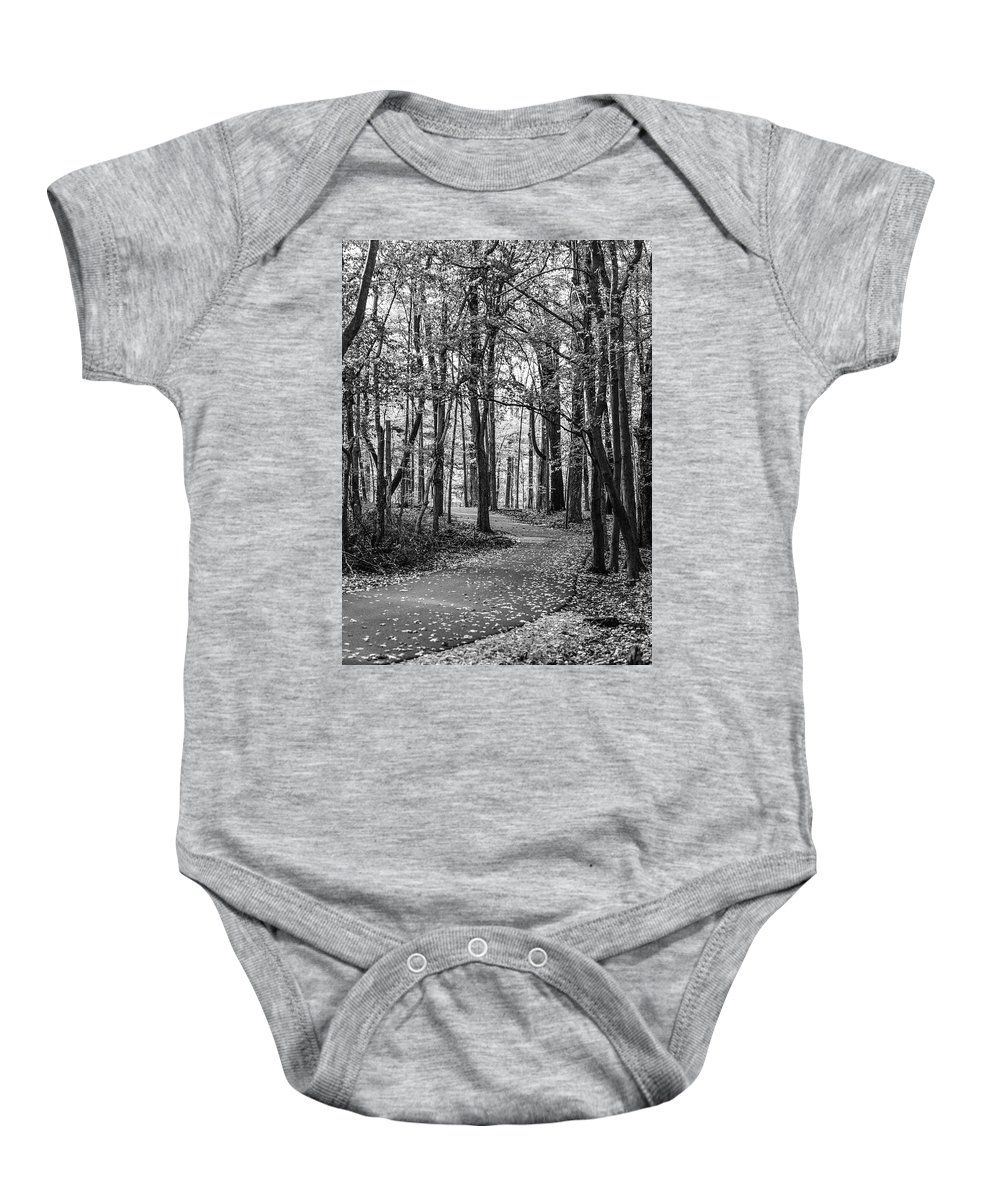 35mm Film Baby Onesie featuring the photograph Black And White Path In Autumn by John McGraw